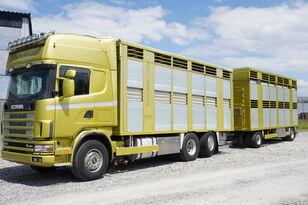 грузовик коневоз SCANIA R164 V8, 6x2, 2 hydraulic decks, 70m2 , live stock + прицеп скотовоз